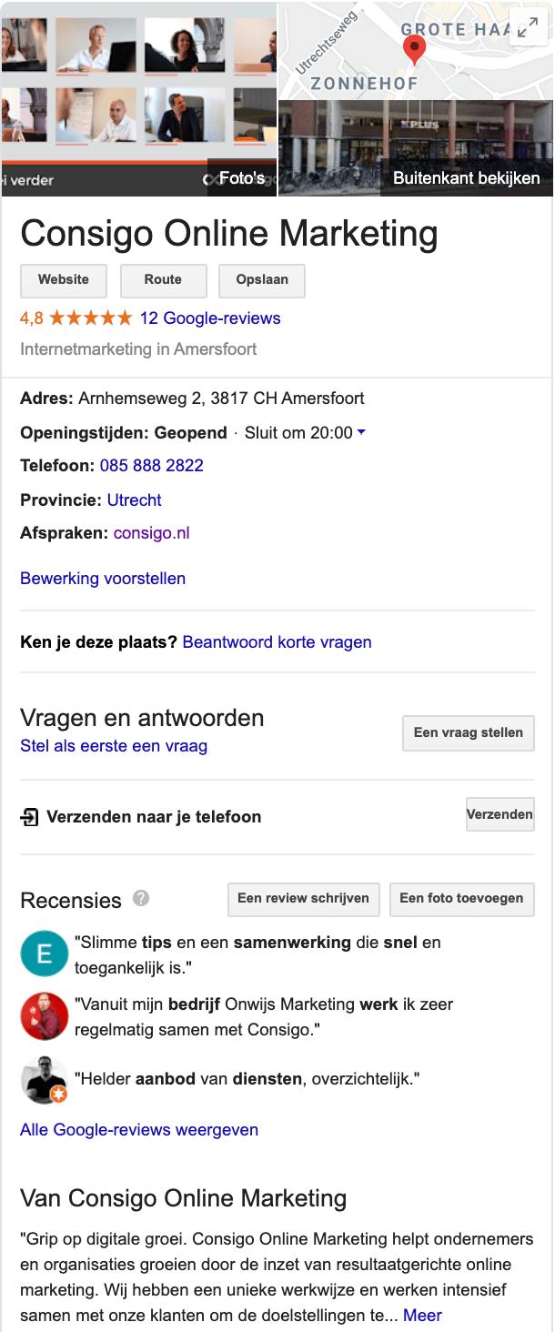 Consigo Online Marketing Amersfoort Google