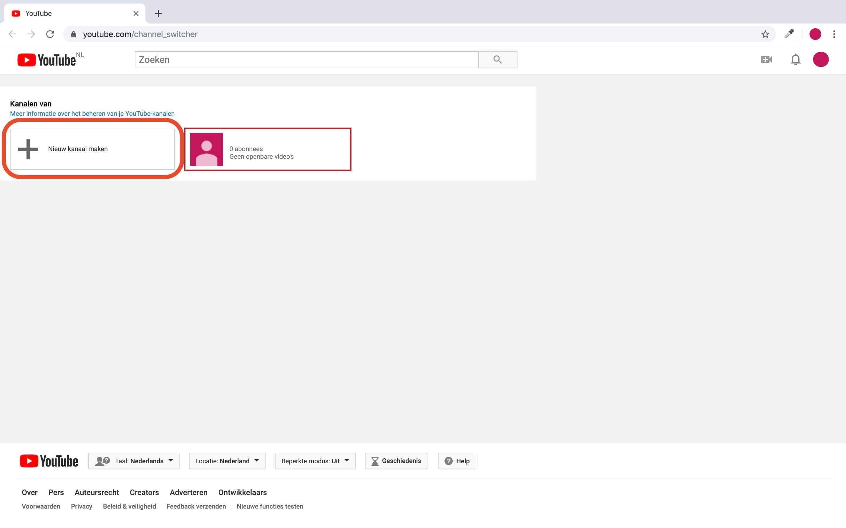 YouTube kanaal aanmaken
