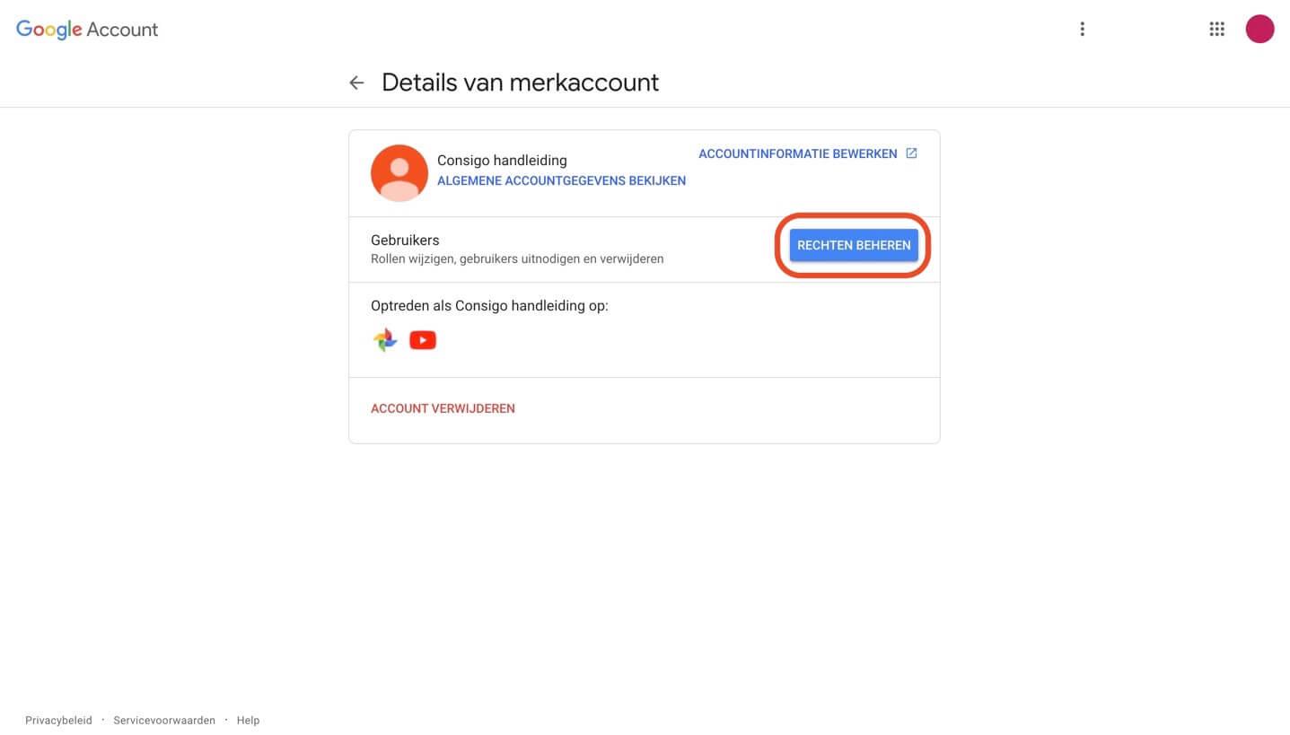 YouTube rechten beheren