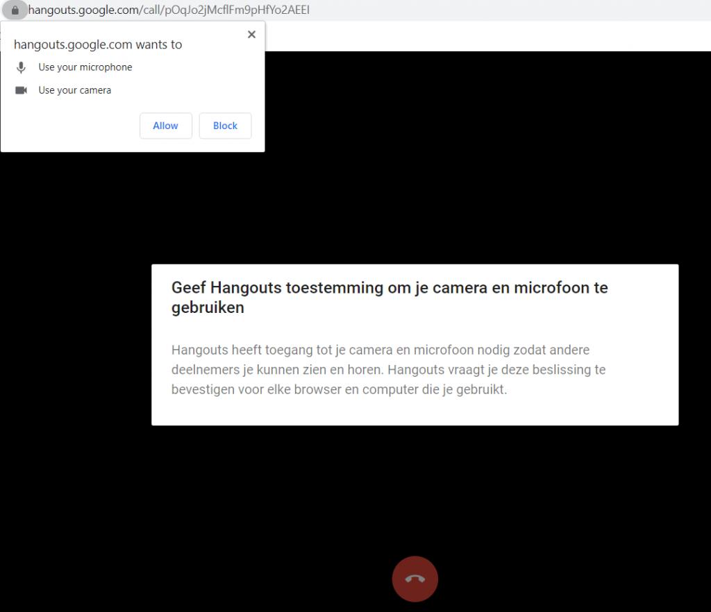 Google Hangouts Camera toegang geven